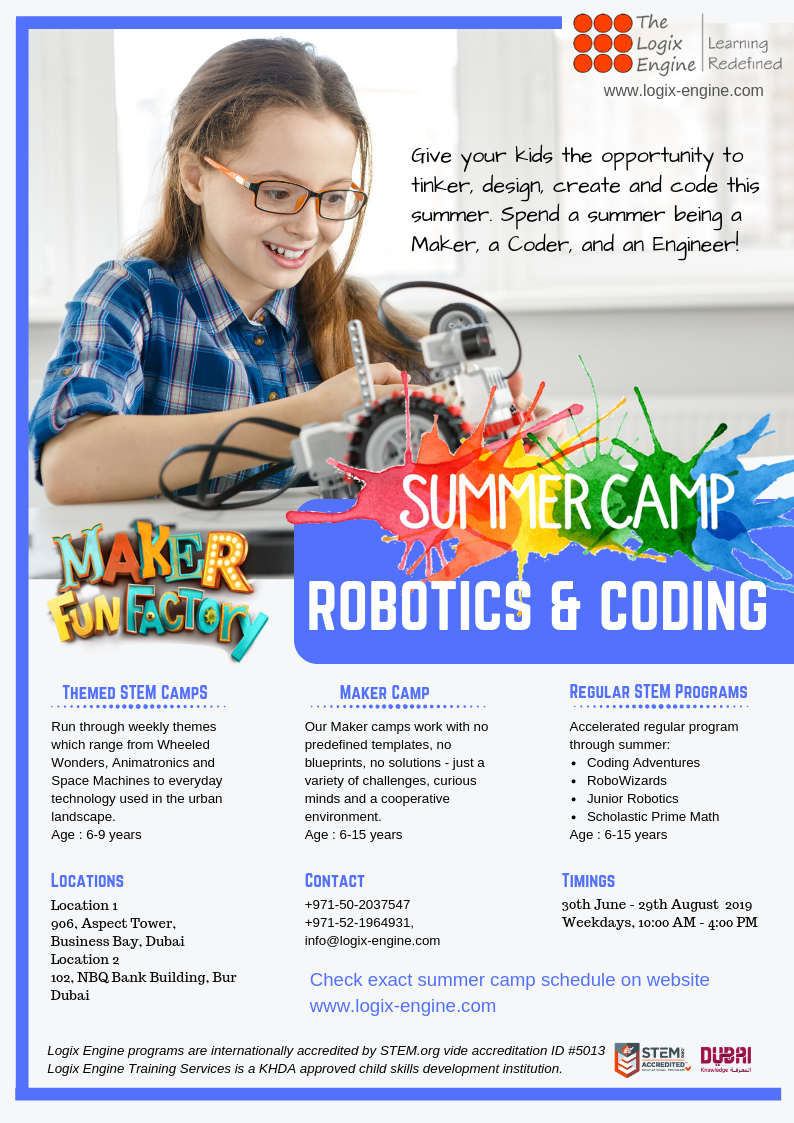 Summer Camp 2019 - Robotics Coding and STEM based courses for kids